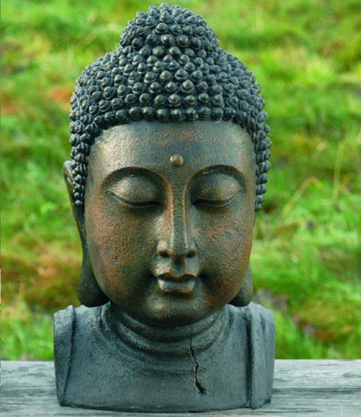 kunstharz buddhakopf 26 cm hoch buddha figur garten bei. Black Bedroom Furniture Sets. Home Design Ideas