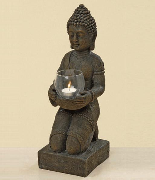 kunstharz buddha mit windlicht 44 c gartenfiguren bei baldur garten. Black Bedroom Furniture Sets. Home Design Ideas